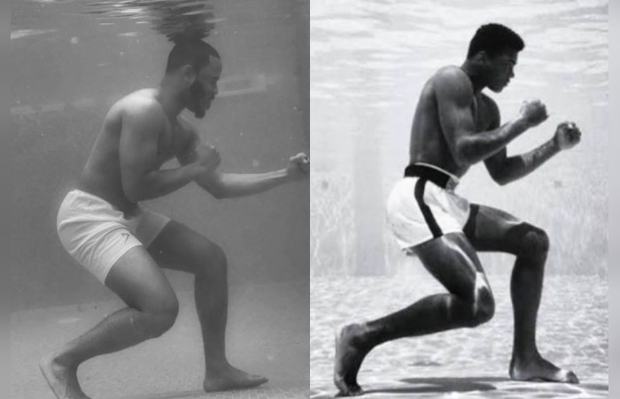 BBNaija: Muhammed Ali's underwater pose recreated by Ozo